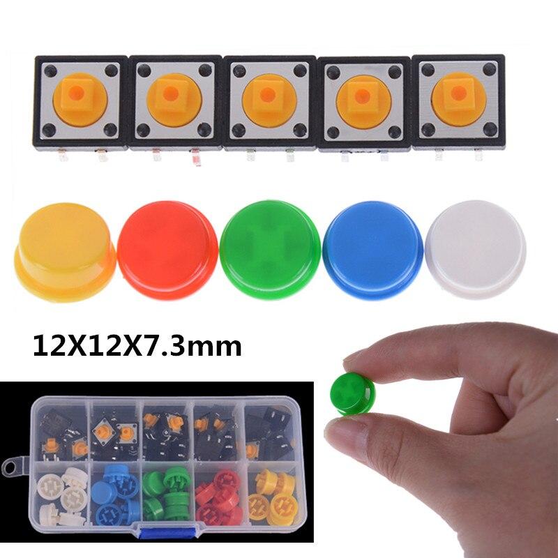 25Pcs/set 5 Colors Tactile Push Button Switch Momentary Micro Switch Button + 25PCS Tact Switch Cap 12*12*7.3MM