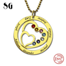 New 925 Sterling Silver Heart Necklace Personalized Custom Names & Birthstones luxury Jewelry Warm Gift For Family недорого
