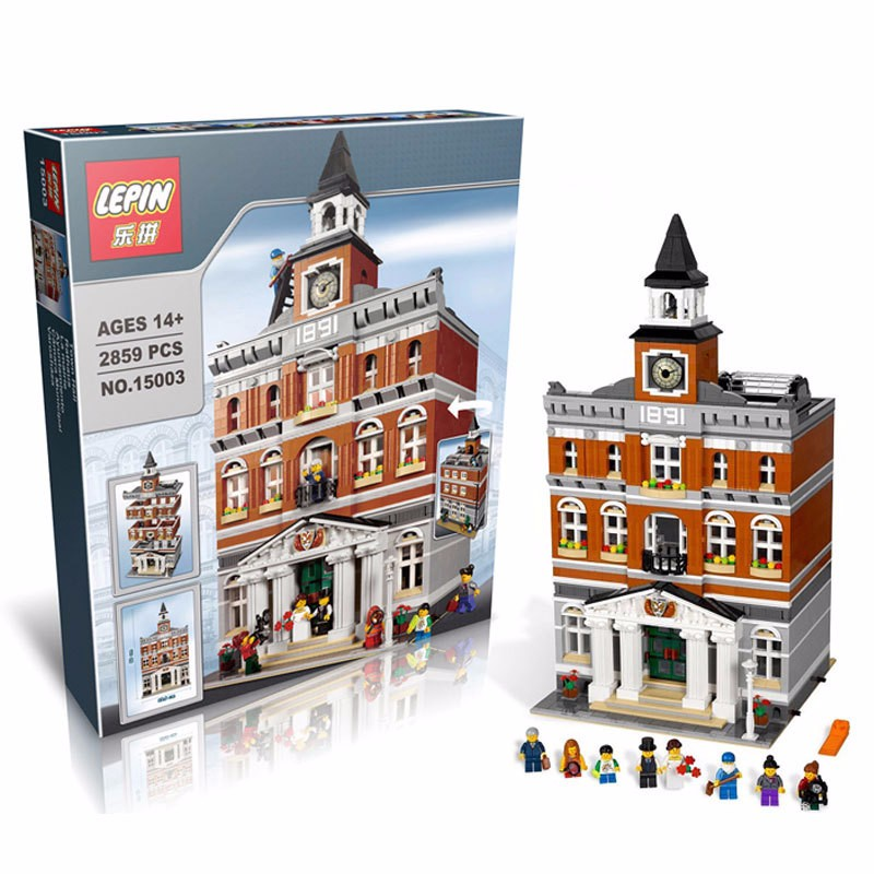 Lepin 15003 2859PCS City Town Hall Sets Model Building Kits Set Blocks Compatible legoed 10224 lepin 02012 city deepwater exploration vessel 60095 building blocks policeman toys children compatible with lego gift kid sets