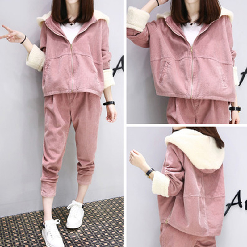Maternity Sport Suits New Autumn/winter Long Sleeves And Long Pants Pregnant Women Plus Velvet Thickening Two Piece Tide