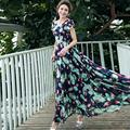 Vestidos Bohemian A-line Dress 2017 New Summer One-piece Dress Women Plus Size Slim Chiffon Floral Large Swing Maxi Long Dresses