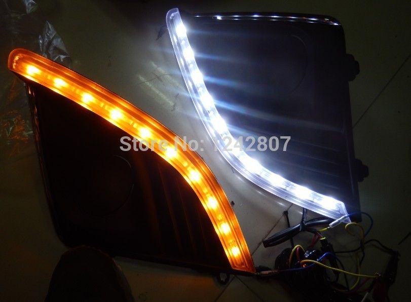 Free shipping ! led drl daytime running light fog lamp with yellow turn signals for Chevy Chevrolet Cruze 2014 2013