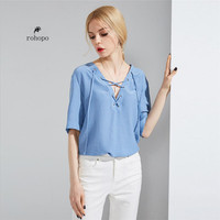 Whiter/sky blue spring 2019 female noble pullover short blouse,V neck short sleeve loose lace collar girl fashion office lady