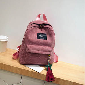 HTNBO Women Backpacks Notebook-Bags Knapsack Tassel Female Preppy-Style Girls School