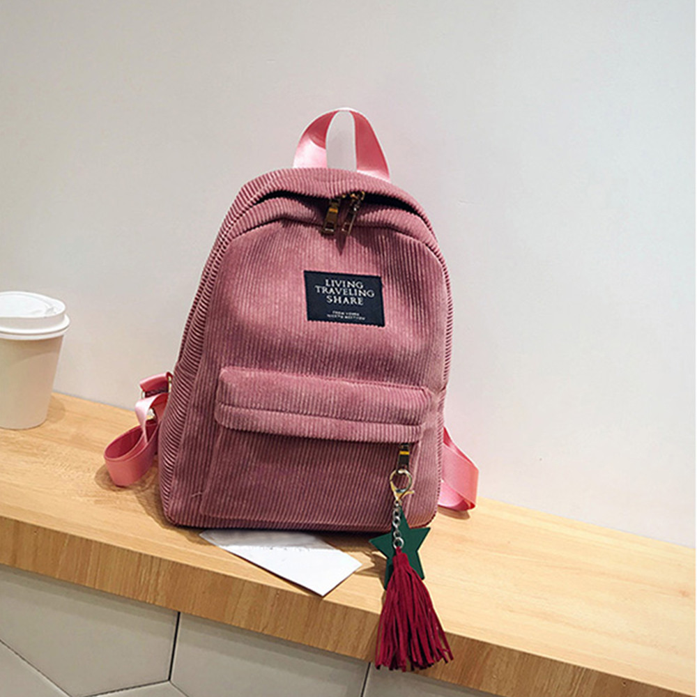 HTNBO Women Backpacks School Soulder Bag With Tassel Corduroy Backpack Female Notebook Bags For Girls Preppy Style Knapsack