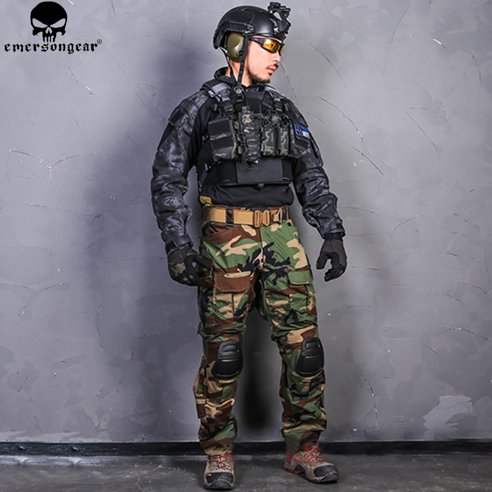 Image 2 - EMERSONGEAR Combat Pants Uniform Tactical Pants with Knee Pads Military Army Multicam Pants Shirt Hunting Clothes WoodlandHunting Ghillie Suits   -