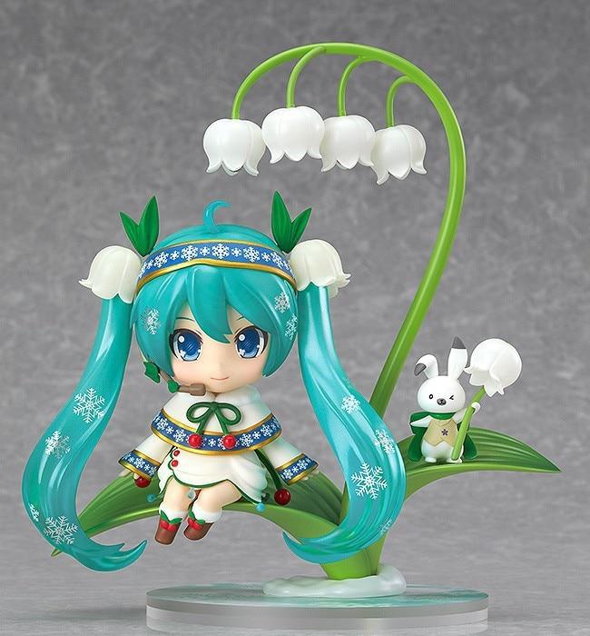 New Nendoroid Hatsune Miku #493 Snow Miku Snow Bell Ver. PVC Action Figure Collectible Model Toy 10cm