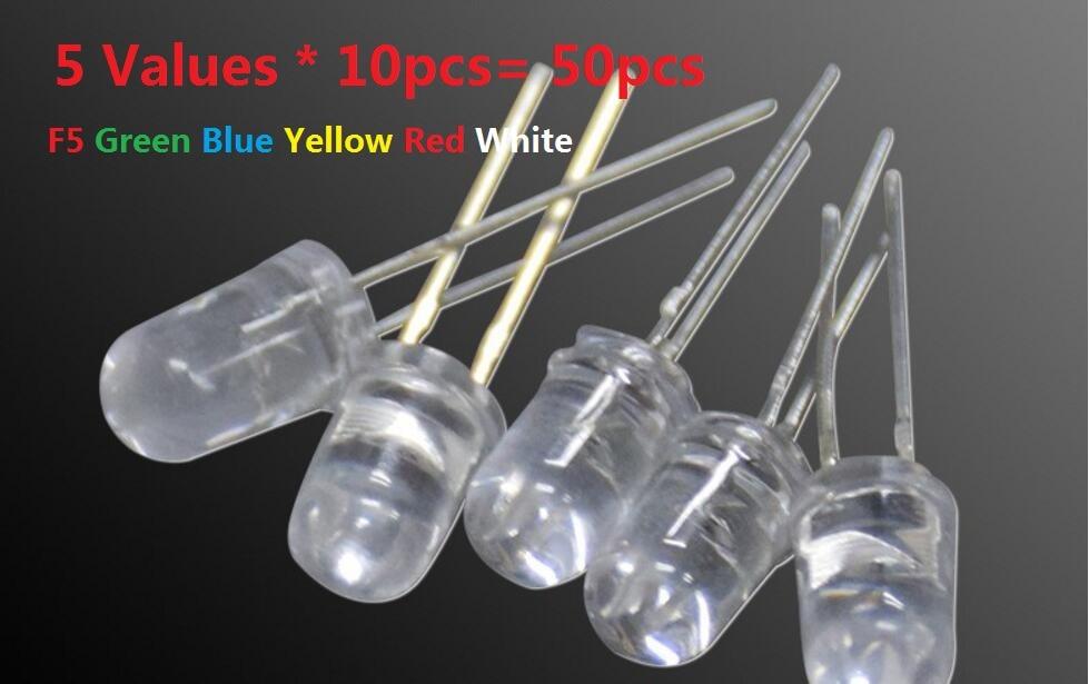 5MM Transparent Cove LED Kit 5 Values * 10pcs= 50pcs  F5 Green Blue Yellow Red White Assortment DIY Assorted Kit Set Pack
