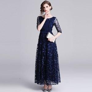 Image 2 - Borisovich 女性イブニングパーティーロングドレス新ブランド 2019 春イングランドスタイルの豪華な刺繍エレガントな女性マキシドレス N726