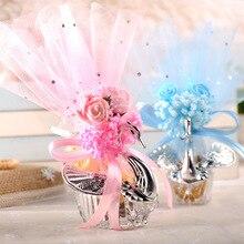 50 Uds. De cajas de acrílico y plata con forma de cisne, elegante, caja de caramelos para obsequio en boda, recuerdo, fiesta, Chocolate + accesorio completo