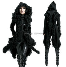 2016 Punk Rave Rock Gothic Kera Visual kei with Horn buttons Hoodie Jacket Coat Women fashions Cardigan