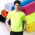 Новый 2016 Мужчин Дизайнер Quick Dry Футболки camisetas Твердые Рубашка Тонкий Fit Топы Тис Повседневная мужская Футболка Размер S-XXXL 12 цвет