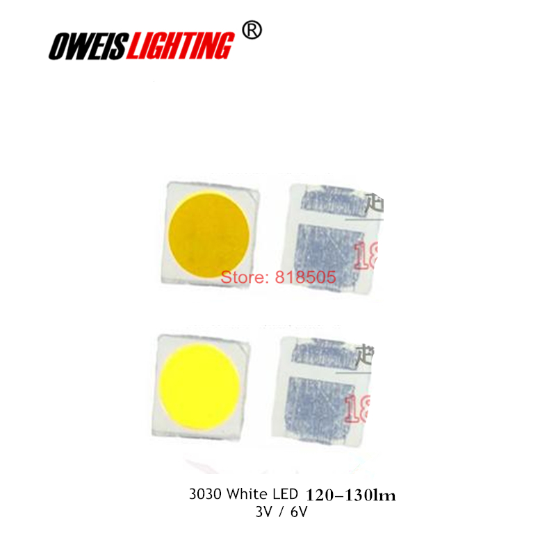 And Great Variety Of Designs And Colors Brilliant 50pcs 3030 White Led 120-130lm 3v-300ma / 6v-150ma Full Range Of Specifications And Sizes White 6000-6500k Warm 2800-3200k Natural 4000-4500k Super Bright Famous For High Quality Raw Materials