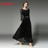 Peritiny Elegant Black Lace Dress White Vintage Evening Party Dresses Winter 2018 Women Long Vestidos Maxi Dress Long Sleeve