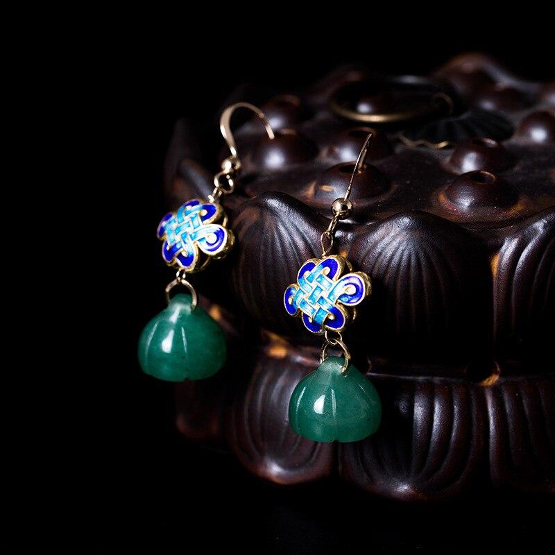 LouLeur 100% 14 K or lotus boucles d'oreilles vert jade jasper ethnique 14 k or Cloisonné boucles d'oreilles pour les femmes bijoux pour charmes