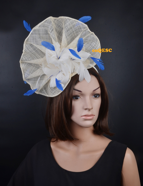 Ivory roayl blue Large feather fascinator sinamay fascinator formal hat  kentucky derby hat wedding hat. 4d3c0d7edd7