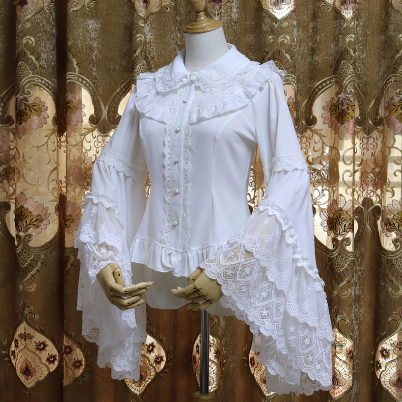 Retro Victorian Chiffon Blouse Long Flare Sleeve Ruffled White Black Lolita Shirt