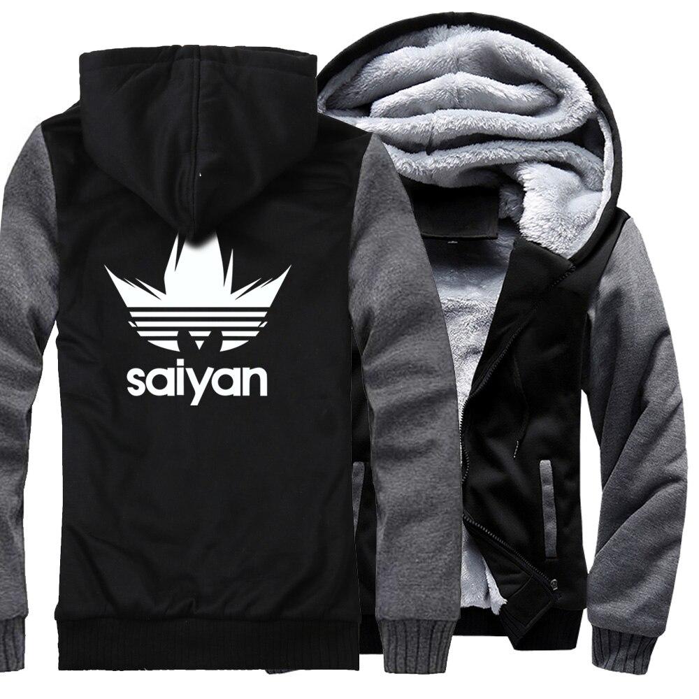 Super Saiyan Casual Sweatshirt Men 2019 Autumn Winter Brand Streetwear Harajuku Men's Jacket Hoodies Dragon Ball Z Thick Coats