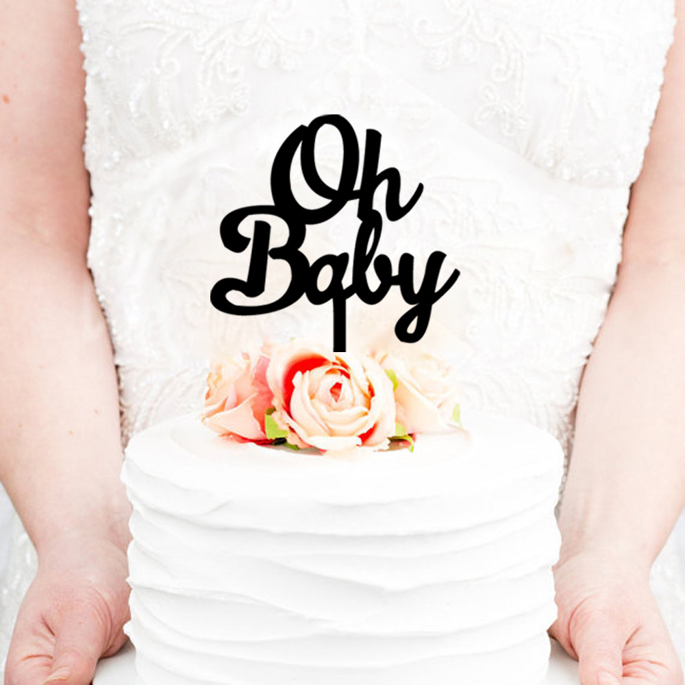 wholesale 10pcs lot oh baby acrylie wedding cake topper baby birthday cake topper with free shipping