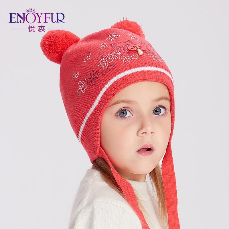ENJOYFUR niñas invierno sombreros Fox Fur Pompom niños sombrero lindo gato  patrón Rhinestone gorros para niños caliente gorras de punto en Sombreros y  ... bc39c655e22