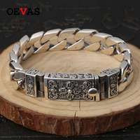 Buddhist auspicious text Bracelet 925 Sterling Silver Birthday Gifts S925 Solid Thai Silver Heacy Bracelet Men Jewelry Wholesale