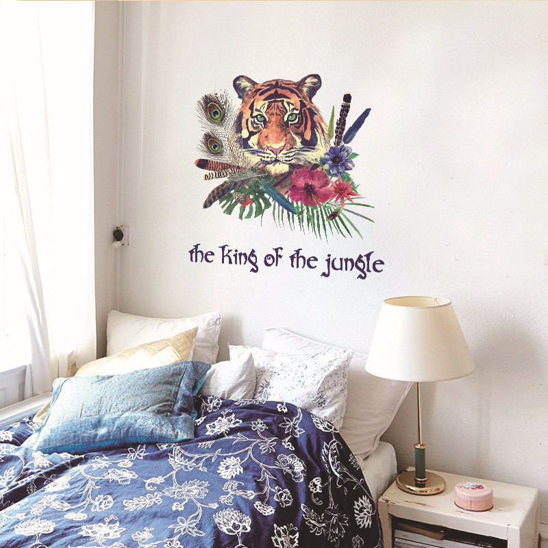 Creative simulation hand-painted tiger avatar wall stickers living room study office decoration mural feather shop door stickers