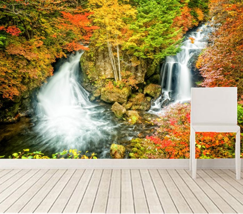 Wallpaper Place Images Wallpapers Nature 1920x1200: Custom 3d Murals,Seasons Autumn Waterfalls Stones Nature
