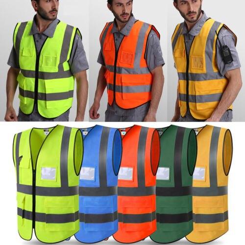 100% Wahr Neue Männer Schutz Hallo-vis Sicherheit Weste Mantel Zipper Reflektierende Arbeit Sicherheit Weste Warp Stricken Tuch Größe L-2xl Ausgezeichnete (In) QualitäT