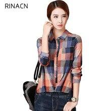 Women Blouses Brand Quality Cotton Blouse Women Shirts Casual Plaid Shirts Long Girls Shirts Loose Tops w454