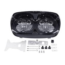 купить Motorcycle Black Dual LED Headlight Projector Hi/Lo Headlamp For Harley Road Glide FLTR 1998-2013 дешево