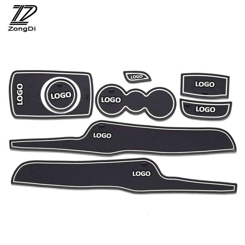 ZD 1set Car Non-Slip Interior Door Cup Cushion Mat Stickers For Ford Fiesta 2009 2010 2011 2012 2013 2014 Auto Accessories