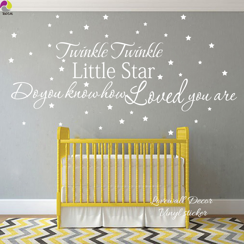 compare prices on quotes babies online shopping buy low price 150cmx79cm twink twinkle little star how loved you are quote wall sticker baby nursery kids room