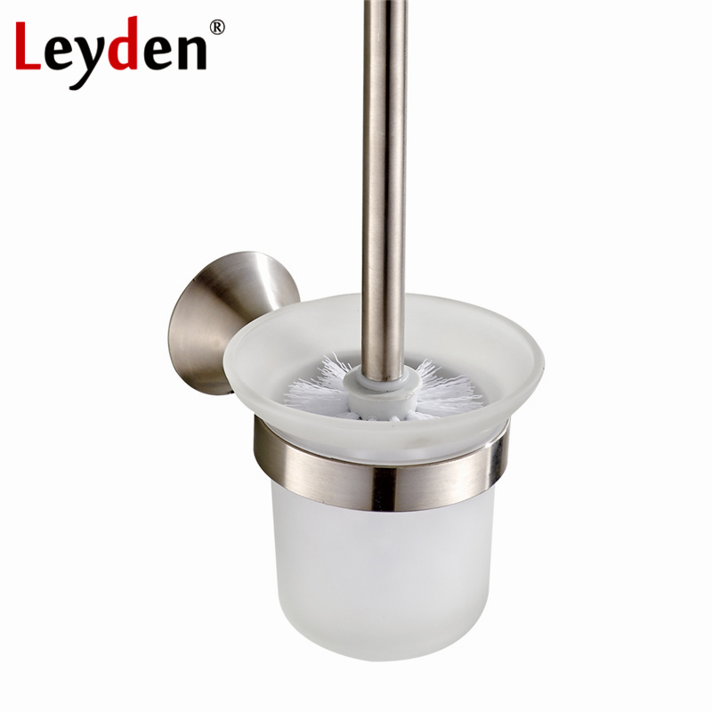 Bathroom Nickel Brushed Stainless Steel Wall Mounted Toilet Brush Holder Set i