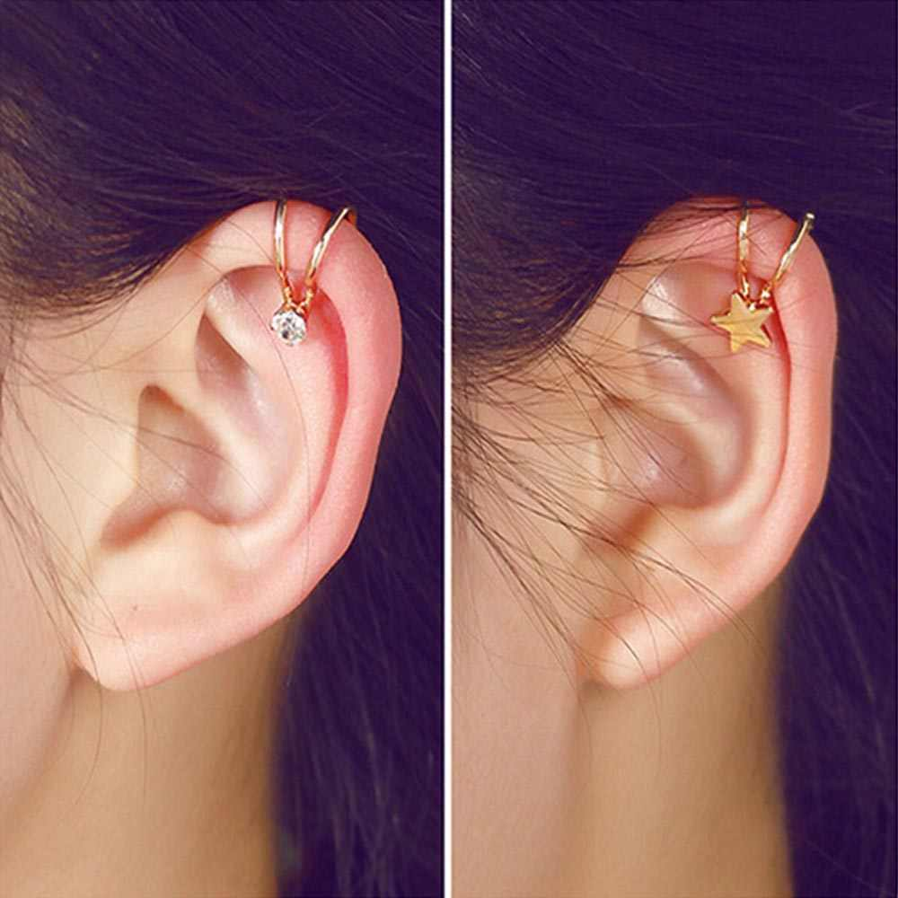 M MISM 1pc New Arrival Metal Color Clip Earrings for Girls Punk Jewelry Accessories Women Gold Silver Star Pearl Earrings
