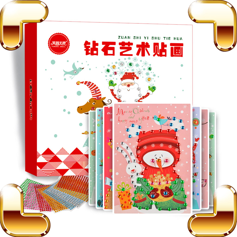 Christmas Gift Diamond Sticker Classic Toys Rhinestone Colorful DIY Greeting Card For Family Friends Learning Toy Paint Present