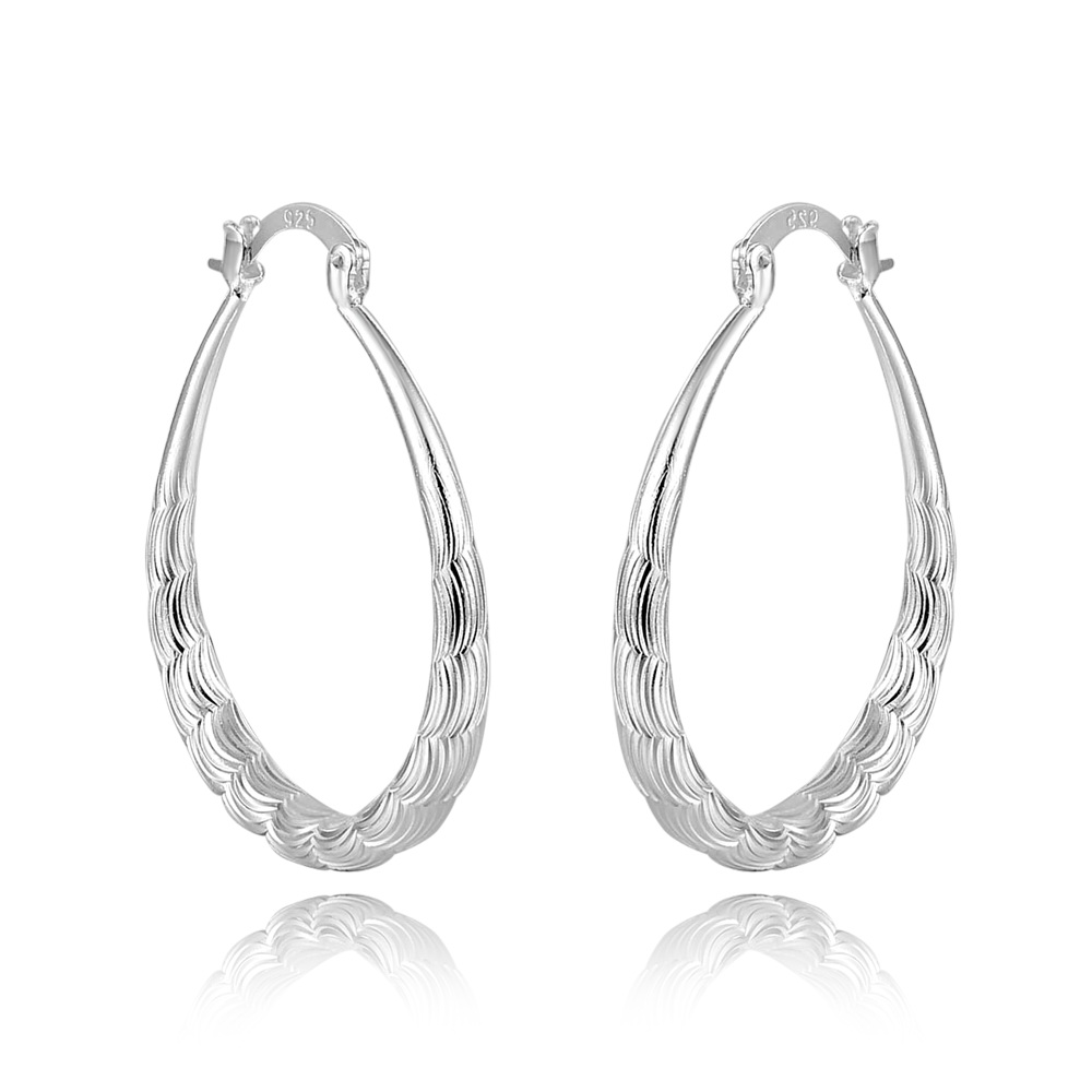 30*33mm Crazy Water Wave U Fashion Lady 925 Silver Hoop Earrings Eh000320 Wholesale Women Earring Special Gift Jade White