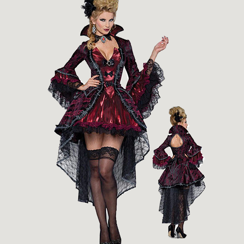 adult women deluxe halloween gothic vampire vampiress costume medieval cosplay dress outfits devil witch queen costumes clothing - Halloween Fashion Games