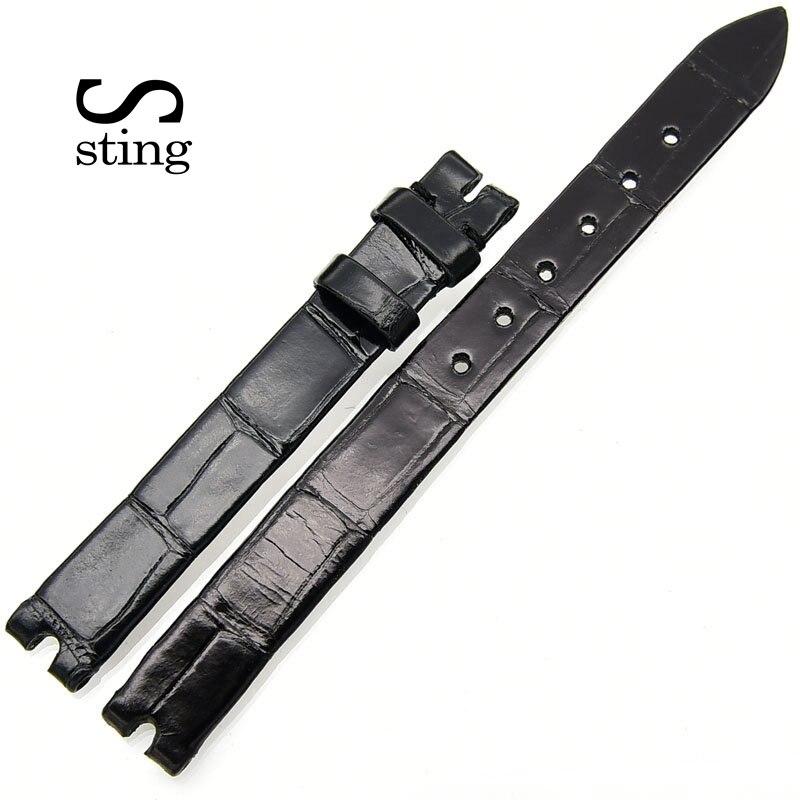 Sting Strap Smooth Leather 10 12mm Crocodile Leather Watchband Women Genuine Waterproof Wrist Belt Women Design