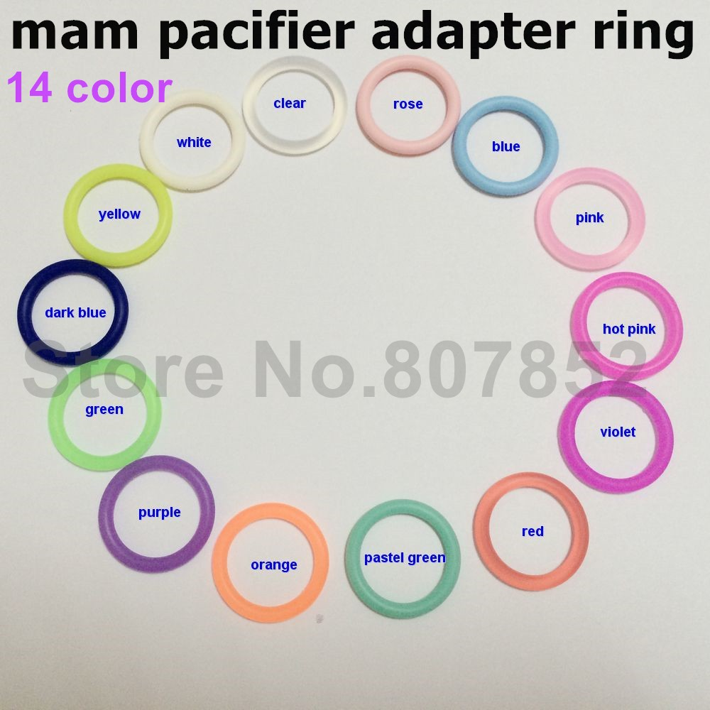 (14 color) 500pcs BPA Free NUK Silicone Baby Pacifier Napkin Holder Adapter Dummy MAM holder O rings