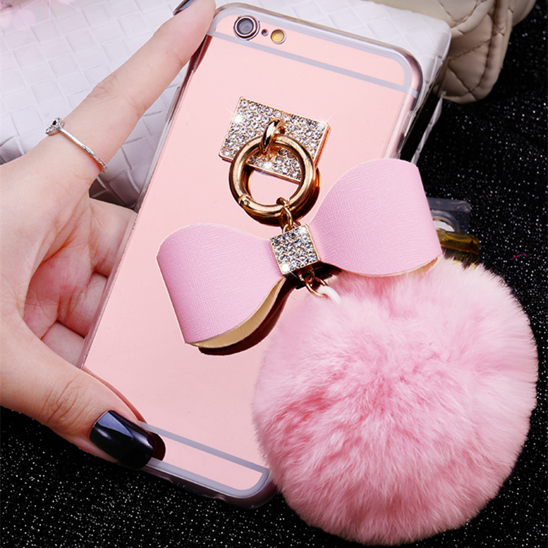Newest Luxury Rabbit Hair Ball <font><b>Ring</b></font> <font><b>Phone</b></font> Cases Covers For Apple iphone 8 plus 5.5 inch <font><b>Mirror</b></font> Fundas Capa Drop Shipping