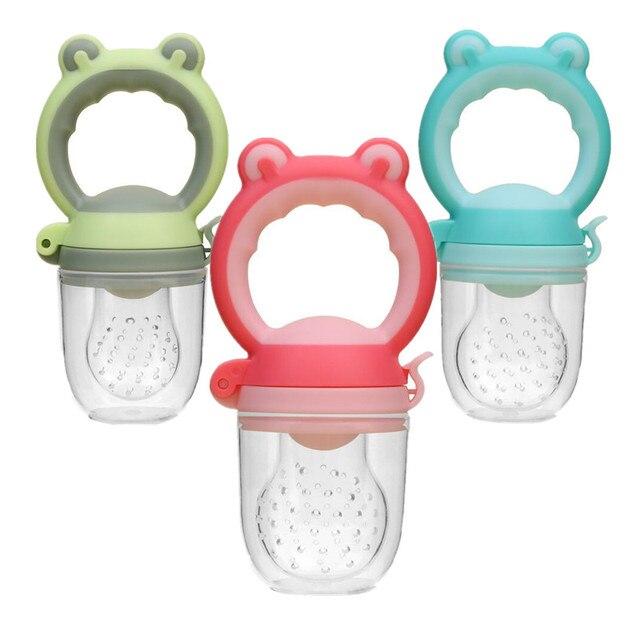 1 Pc alimentador de silicona para bebé Rana tipo de cabeza leche fruta fresca Nibbler niños entrenamiento Teat chupete botellas