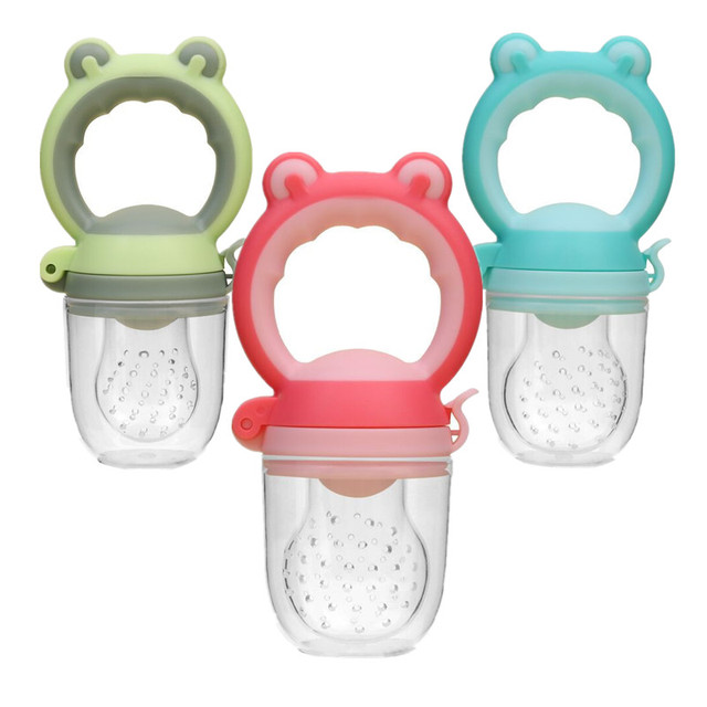 1Pc Silicone Pacifier Feeder for Baby Infant Frog Head Type Milk Fresh Fruit Nibbler Kids Training Nipple Teat Pacifier Bottles