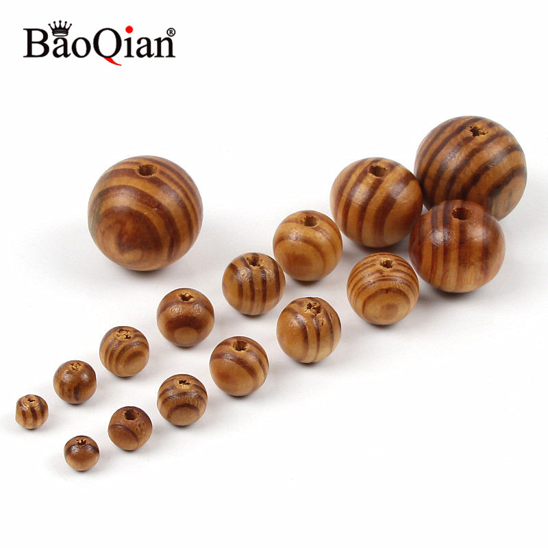 6-30MM Natural Pine Wooden Beads Round Balls For Jewelry Making Spacer Diy Wood Crafts Home Decoration