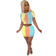 купить Women Summer Striped Printed Mini Skirt 2 Piece Set Casual Short Sleeve Crop Tops Fishnet Skirts Sexy Bodycon Skirts Suits по цене 912.84 рублей