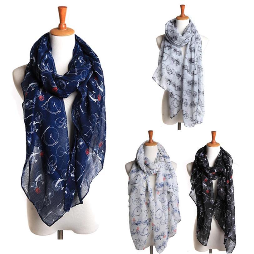 2019 women bicyclette print   scarf   Voile girl printing shawl female Bicycle Pattern Long   Scarf   Warm   Wrap   lenco feminino cachecol