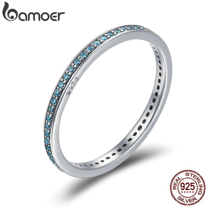 BAMOER Simple Sterling Silver Luminous CZ Light Blue Round Female Finger Rings for Women