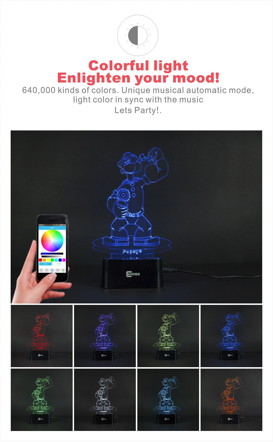 CNHIDEE Lampada Decorativa USB Desk 3D Night Lamp Bluetooth Music Led Table Lamp as Creative Gifts for Cartoon Popeye Fans (2)