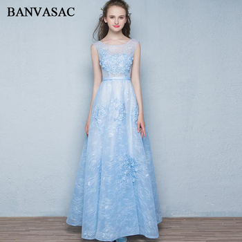 BANVASAC 2018 O Neck Lace Appliques A Line Long Evening Dresses Party Pearls Flowers Sash Illusion Zipper Back Prom Gowns