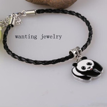 New panda Charms Bracelet Bangle for Women Gift Adjustable Black pu leather Cord Bracelets Fashion Jewelry