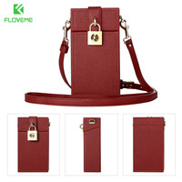FLOVEME Phổ Wallet Case Cho iPhone X 6 6 s 7 8 Cộng Với Chéo cơ thể Wallet Leather Bag Case Cho Samgsung S6 S7 S8 Dễ Thương Bag Bìa